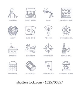 set of 16 thin linear icons such as carousel horse, diamond ace, gold ticket, hopscotch, bottles ball, shoot duck, swan boat from entertainment collection on white background, outline sign icons