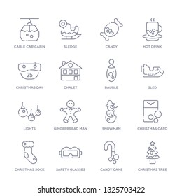 set of 16 thin linear icons such as christmas tree, candy cane, safety glasses, christmas sock, christmas card, snowman, gingerbread man from winter collection on white background, outline sign