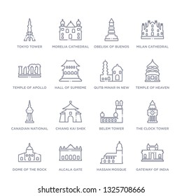 set of 16 thin linear icons such as gateway of india, hassan mosque, alcala gate, dome of the rock, the clock tower, belem tower, chiang kai shek memorial hall from monuments collection on white