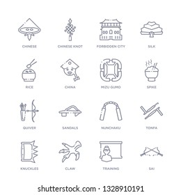 set of 16 thin linear icons such as sai, training, claw, knuckles, tonfa, nunchaku, sandals from asian collection on white background, outline sign icons or symbols