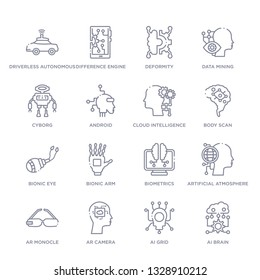 set of 16 thin linear icons such as ai brain, ai grid, ar camera, ar monocle, artificial atmosphere, biometrics, bionic arm from artificial intellegence collection on white background, outline sign