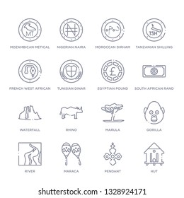 set of 16 thin linear icons such as hut, pendant, maraca, river, gorilla, marula, rhino from africa collection on white background, outline sign icons or symbols