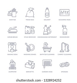set of 16 thin linear icons such as sponges, garden hose, serviette, dumpster, carpet cleaning, bathtub cleaning, washing dishes from cleaning collection on white background, outline sign icons or