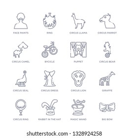 set of 16 thin linear icons such as big bow, magic wand, rabbit in the hat, circus ring, giraffe, circus lion, circus dress from collection on white background, outline sign icons or symbols