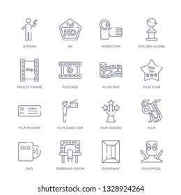 set of 16 thin linear icons such as deadpool, doorway, dressing room, dvd, film, film award, film director from cinema collection on white background, outline sign icons or symbols