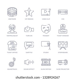 set of 16 thin linear icons such as slide projector, slow motion, sound effect, soundtrack, storyboard, studio, subtitle from cinema collection on white background, outline sign icons or symbols