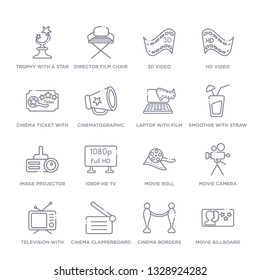 set of 16 thin linear icons such as movie billboard, cinema borders, cinema clapperboard, television with antenna, movie camera, movie roll, 1080p hd tv from cinema collection on white background,