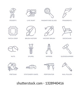 set of 16 thin linear icons such as nail puller, perforator, stationery knife, fretsaw, sledgehammer, nippers, dyupel from general collection on white background, outline sign icons or symbols