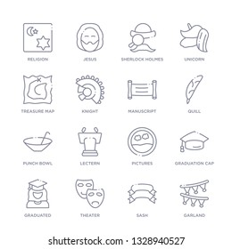 set of 16 thin linear icons such as garland, sash, theater, graduated, graduation cap, pictures, lectern from education collection on white background, outline sign icons or symbols