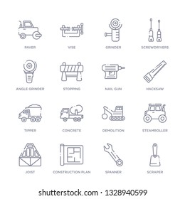 set of 16 thin linear icons such as scraper, spanner, construction plan, joist, steamroller, demolition, concrete from construction collection on white background, outline sign icons or symbols