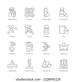set of 16 thin linear icons such as momentum, geometry, sound fork, submerge, concave, convex, ph meter from science collection on white background, outline sign icons or symbols