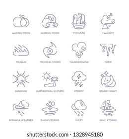 set of 16 thin linear icons such as sand storms, sleet, snow storms, sprinkle weather, starry night, stormy, subtropical climate from weather collection on white background, outline sign icons or