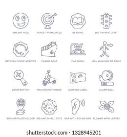 set of 16 thin linear icons such as flower with leaves, ear with sound bar, big and small dots, big map placeholder, alarm bell, clothes label, man on motorbike from ultimate glyphicons collection