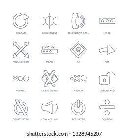 set of 16 thin linear icons such as division, activated, low volume, desativated, unblocked, medium, desactivate from user interface collection on white background, outline sign icons or symbols