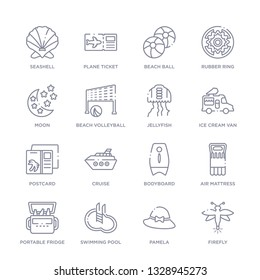 set of 16 thin linear icons such as firefly, pamela, swimming pool, portable fridge, air mattress, bodyboard, cruise from summer collection on white background, outline sign icons or symbols