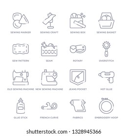 set of 16 thin linear icons such as embroidery hoop, fabrics, french curve, glue stick, hot glue, jeans pocket, new sewing machine from sew collection on white background, outline sign icons or