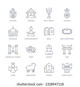 set of 16 thin linear icons such as christianity, taoism, monastery, lamb, god, shinto, pope from religion collection on white background, outline sign icons or symbols