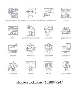 set of 16 thin linear icons such as motivation, sales, place, consumer, checklist, ad blocker, affiliate from marketing collection on white background, outline sign icons or symbols