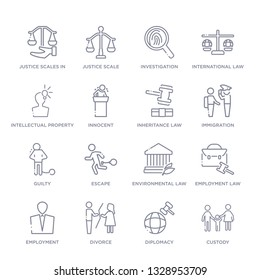 set of 16 thin linear icons such as custody, diplomacy, divorce, employment, employment law, environmental law, escape from law and justice collection on white background, outline sign icons or