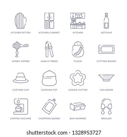 set of 16 thin linear icons such as broiler, bun warmer, chopping board, coffee machine, colander, cookie cutter, cooking pot from kitchen collection on white background, outline sign icons or