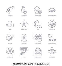 set of 16 thin linear icons such as problem, password, find, warning, verification, firewall, hooter from internet security collection on white background, outline sign icons or symbols