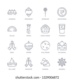set of 16 thin linear icons such as rangoli, samosa, namaste, oil lamp, taj mahal, full moon, phirni from india and holi collection on white background, outline sign icons or symbols