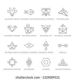 set of 16 thin linear icons such as multiple triangles triangle, octagon, octahedron, ornamental rotating polygonal, parallel, polygonal arrow up, polygonal ascendant from geometry collection on