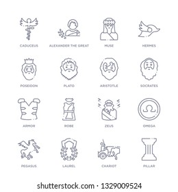 set of 16 thin linear icons such as pillar, chariot, laurel, pegasus, omega, zeus, robe from greece collection on white background, outline sign icons or symbols