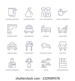 set of 16 thin linear icons such as refrigerator, shelf, table lamp, water dispenser, fauteuil, fainting couch, davenport from furniture and household collection on white background, outline sign
