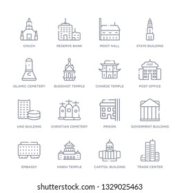 set of 16 thin linear icons such as trade center, capitol building, hindu temple, embassy, goverment building, prison, christian cemetery from buildings collection on white background, outline sign