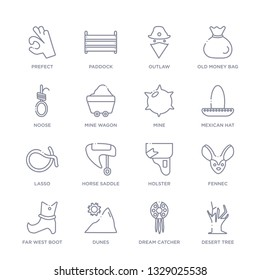 set of 16 thin linear icons such as desert tree, dream catcher, dunes, far west boot, fennec, holster, horse saddle from desert collection on white background, outline sign icons or symbols