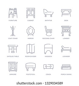 set of 16 thin linear icons such as porch swing, cenza, footstool, armoire, lounger, hassock, room divider from furniture and household collection on white background, outline sign icons or symbols