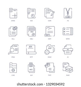 set of 16 thin linear icons such as rar, tiff, avi, c4d, ai, raw, rtf from file type collection on white background, outline sign icons or symbols
