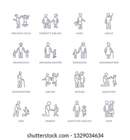 set of 16 thin linear icons such as wife, aunt's or uncle's child, parent, son, daughter, spouse, sibling from family relations collection on white background, outline sign icons or symbols