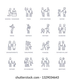 set of 16 thin linear icons such as brother, cousin, ex-husband, father, father-in-law, fianc?e, girlfriend from family relations collection on white background, outline sign icons or symbols