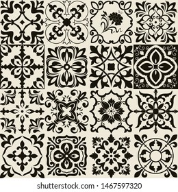 Set of 16 tiles Azulejos in black, beige. Original traditional Portuguese and Spain decor. Seamless patchwork tile with Victorian motives. Ceramic tile in talavera style. Gaudi mosaic. Vector