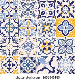 Set of 16 tiles Azulejos in blue, gray, yellow. Original traditional Portuguese and Spain decor. Seamless patchwork tile with Victorian motives. Ceramic tile in talavera style. Gaudi mosaic. Vector