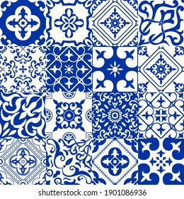 Set of 16 tiles Azulejos in blue, white. Original traditional Portuguese and Spain decor. Seamless patchwork tile with Victorian motives. Ceramic tile in talavera style. Gaudi mosaic. Vector