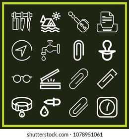 Set of 16 tool outline icons such as key, water faucet, dropper, clock, knives, attachment, glasses, compass, collar, pacifier, tent, paperclip, papperclip, scanning
