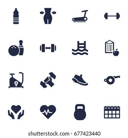 Set Of 16 Training Icons Set.Collection Of Drink, Kegling, Treadmill And Other Elements.