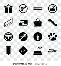 Set Of 16 transparent icons such as Coins, Wifi, Road, Smarthphone, No pets, Gift, Stairs, Junction, Tote bag, transparency icon pack, pixel perfect