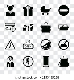 Set Of 16 transparent icons such as Purse, Smarthphone, Electricity, Boy, No wifi, Girl, Cit card, Information point, Tote bag, transparency icon pack, pixel perfect
