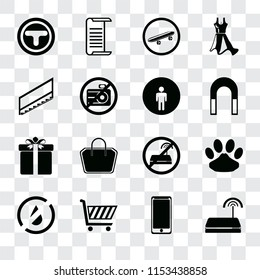 Set Of 16 transparent icons such as Wifi, Smarthphone, Shopping cart, No water, Pet, Junction, Stairs, Gift, Restroom, transparency icon pack, pixel perfect