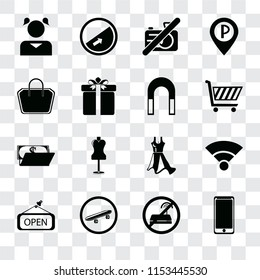 Set Of 16 transparent icons such as Smarthphone, No wifi, Skateboard, Open, Wifi, Girl, Tote bag, Wallet, Magnet, transparency icon pack, pixel perfect
