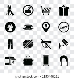 Set Of 16 transparent icons such as Magnet, Smarthphone, Tote bag, Store, Cctv, Dress, Restroom, Jeans, Location, transparency icon pack, pixel perfect