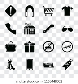 Set Of 16 transparent icons such as Discount, Mall, Smarthphone, Dress, Skateboard, Warning, Telephone, Tote bag, Escalator, transparency icon pack, pixel perfect