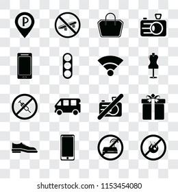 Set Of 16 transparent icons such as No fire, wifi, Smarthphone, Shoes, Gift, Parking, Smartphone, drugs, Wifi, transparency icon pack, pixel perfect