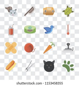 Set Of 16 transparent icons such as Animal, Cat, Nail trimmer, Brush, Snake, Pet, Spray, Band aid, Bird, transparency icon pack, pixel perfect