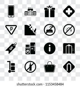 Set Of 16 transparent icons such as Turn, Tote bag, No alcohol, Trolley, Lift, Smarthphone, Parking, Price, wifi, transparency icon pack, pixel perfect