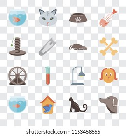 Set Of 16 transparent icons such as Dog, Cat, Bird house, Aquarium, Fishbowl, Scratching, Hamster ball, Mouse, transparency icon pack, pixel perfect